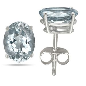 Earrings Stud 3/4 Carat Aquamarine Sterling Silver